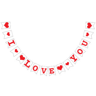 I LOVE YOU Red Hearts Valentine Wedding Decor Bunting