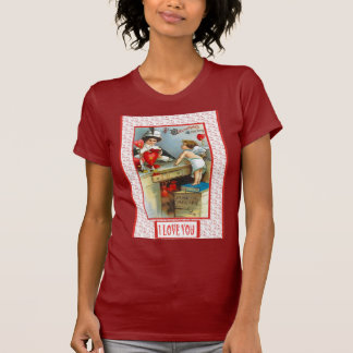I love you, retro cupid and a mirror T-Shirt