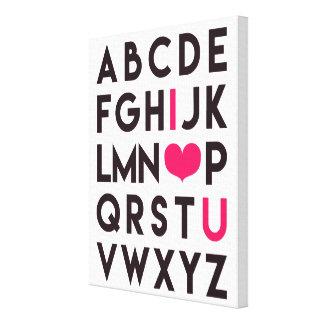 I LOVE YOU - Romantic Alphabet Canvas Canvas Print