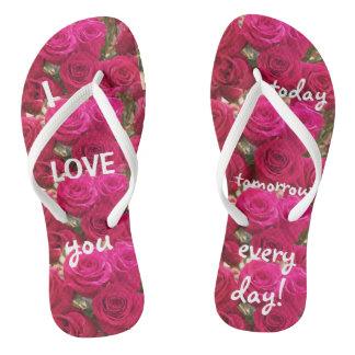 I Love You Romantic Roses Flip Flops