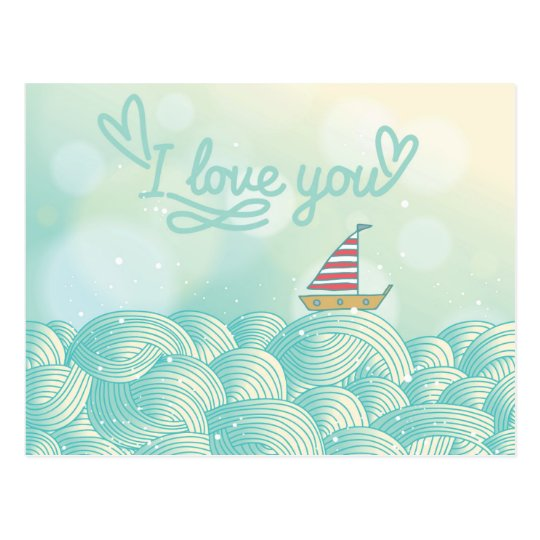 I Love You Sailboat Postcard