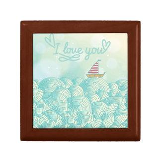 I Love You Sailboat Small Square Gift Box