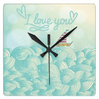 I Love You Sailboat Square Wall Clock