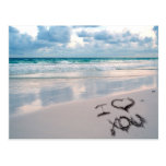 I Love You, Sand Writing on the Beach Postcard