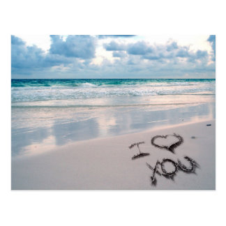 I Love You, Sand Writing on the Beach Postcard