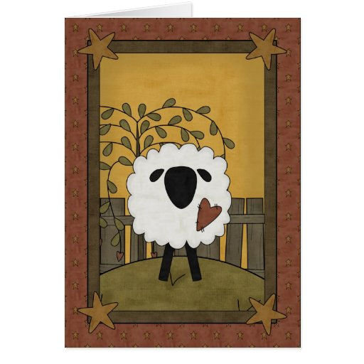 I Love You Sheep Scene Greeting Cards