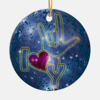I LOVE YOU / sign language   dark blue splatter Round Ceramic Decoration