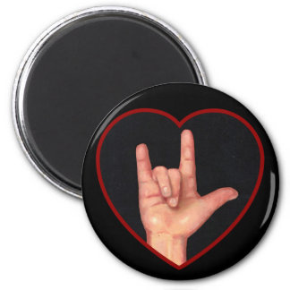 I LOVE YOU SIGN LANGUAGE ON BLACK MAGNET