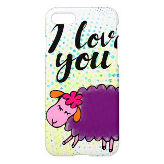 I love you sign with cute sheep iPhone 7 case
