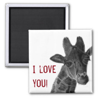 """I love you"" sign with graphic giraffe Magnet"