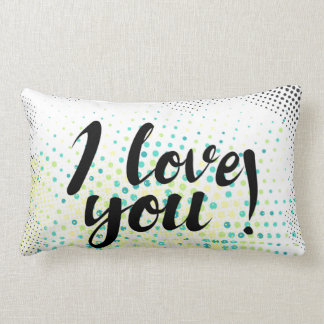 """""""I love you"""" sign with graphic halftones Lumbar Cushion"""