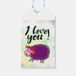 """I love you"" sign with graphic retro Gift Tags"