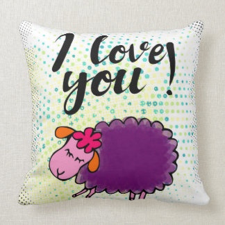 """I love you"" sign with graphic retro grunge Cushion"
