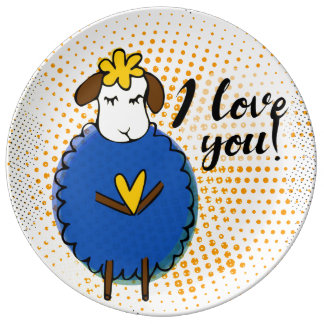 """""""I love you"""" sign with graphic retro grunge Porcelain Plates"""