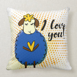 """I love you"" sign with graphic retro grunge Throw Pillow"