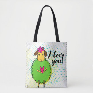"""I love you"" sign with graphic retro grunge Tote Bag"