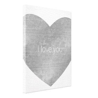 I love you Silver Heart Canvas Print