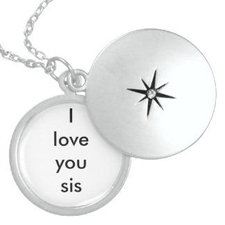 ''i love you sis'' silver necklace locket