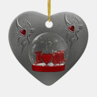I Love You Snow Globe Ceramic Heart Decoration