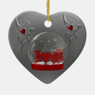 I Love You Snow Globe Christmas Ornament