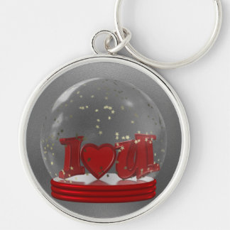 I Love You Snow Globe Silver-Colored Round Key Ring