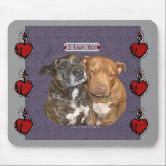 I Love You Snuggling Staffys Mouse Pad