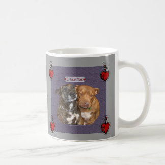 I Love You Snuggling Staffys Basic White Mug