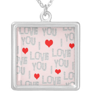I Love You Square Silver Necklace
