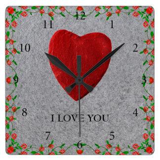 I love you square wall clock