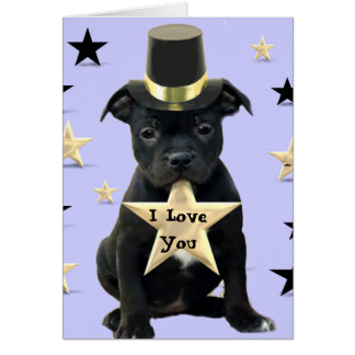I Love You Staffordshire Bull Terrier card
