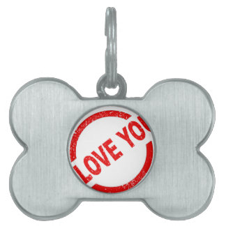 I Love You Stamp Pet ID Tags