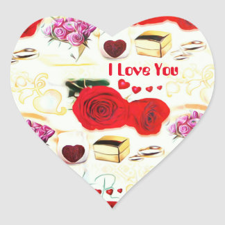 I love you sticker  Decurative Artistic Rose Heart