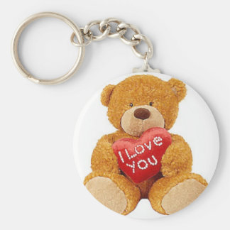 I Love You teddy bear Basic Round Button Key Ring