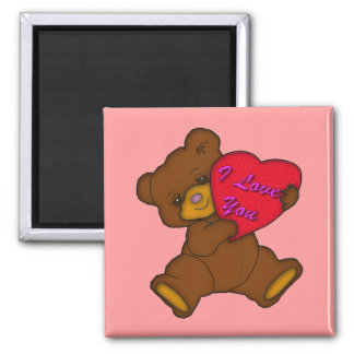 """""""I Love You"""" Teddy Square Magnet"""