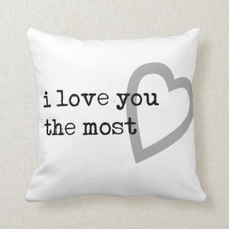 i love you the most cute heart throw pillow