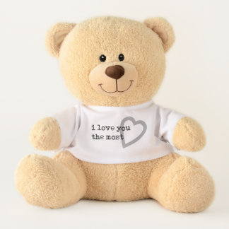 i love you the most simple modern with heart teddy bear