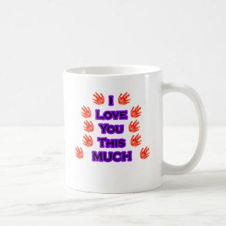 I Love You This MUCH Black-LargestPurple Basic White Mug