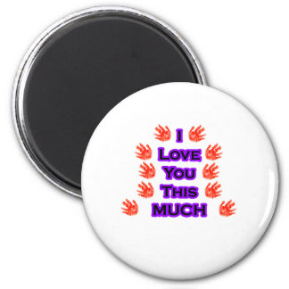 I Love You This MUCH Black-LargestPurple 6 Cm Round Magnet