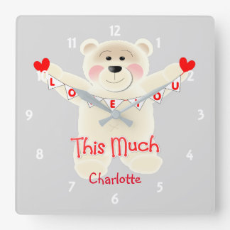 I Love You This Much Cute Teddy Bear Personalized Square Wall Clock