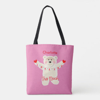 I Love You This Much Cute Teddy Bear Personalized Tote Bag