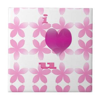 i love you small square tile