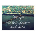 I love you to the beach and back postcard