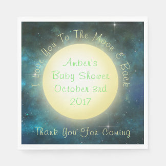 """I Love You To The Moon and Back Baby Napkins 6.5"""" Disposable Napkins"""