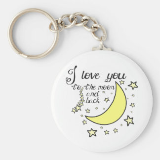 I love you to the moon and back basic round button key ring
