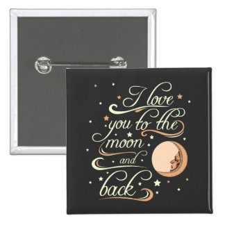 I Love You To The Moon And Back Black 15 Cm Square Badge