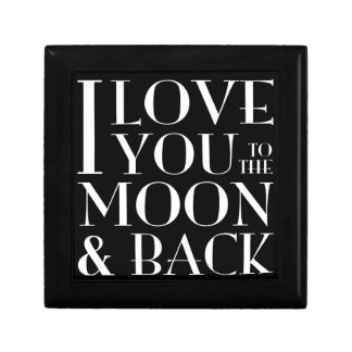 I love you to the moon and back black small square gift box