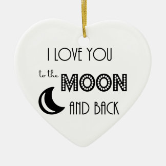 i love you to the moon and back black white christmas ornament