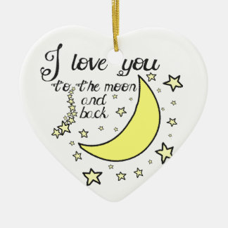 I love you to the moon and back ceramic heart decoration