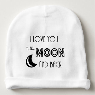 i love you to the moon and back love baby beanie