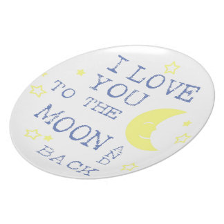 I Love You to the Moon and Back Quote - Blue Plate
